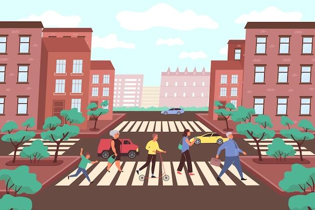 Ilustración plana de cruce de caminos de la ciudad con marcas en automóviles de cruce de peatones y árboles de parque