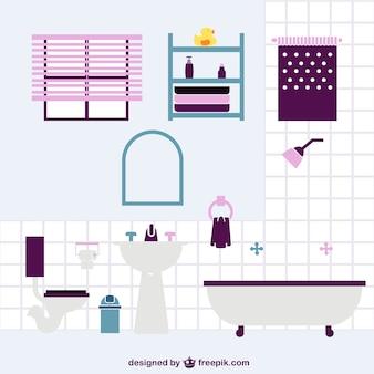 Ilustración plana de cuarto de baño