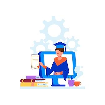 Ilustración plana de cursos distantes de educación en línea con graduados universitarios con diploma en la pantalla de la computadora