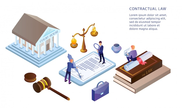 Ilustración plana de derecho contractual.