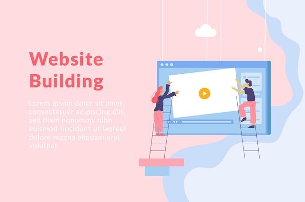 Ilustración plana de desarrollo web con gente de ventana de pantalla de computadora colgante en escaleras y texto