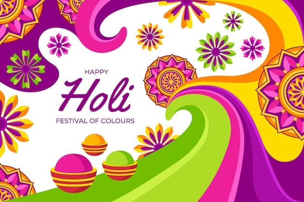 Ilustración plana detallada del festival holi