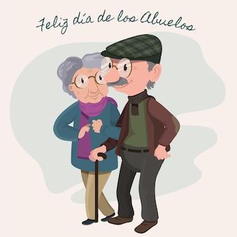 Ilustración plana dia de los abuelos