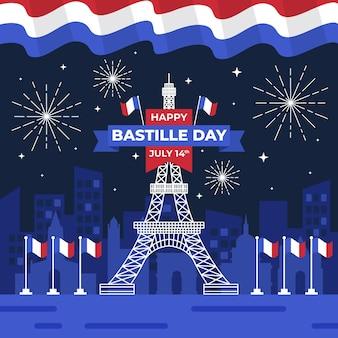 Ilustración plana del día de la bastilla