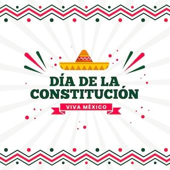 Ilustración plana del día de la constitución mexicana