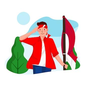 Ilustración plana del día de la independencia de indonesia