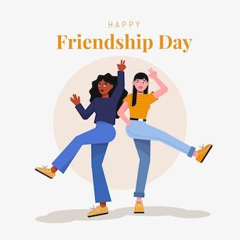 Ilustración plana del día internacional de la amistad