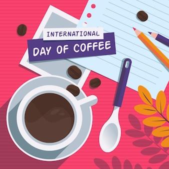 Ilustración plana del día internacional del café.