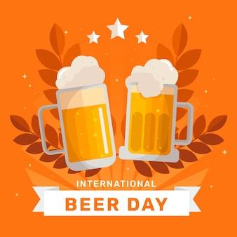 Ilustración plana del día internacional de la cerveza