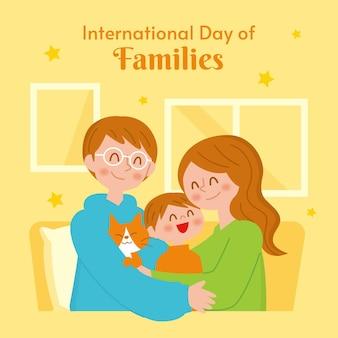 Ilustración plana del día internacional de las familias