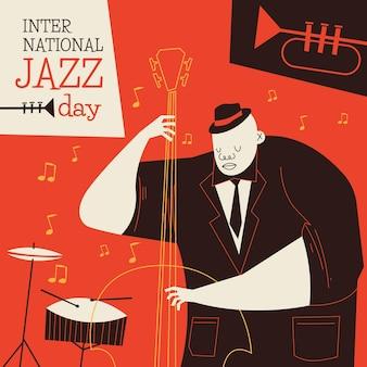 Ilustración plana del día internacional del jazz