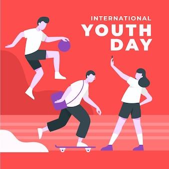 Ilustración plana del día internacional de la juventud