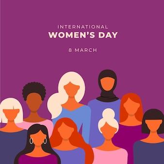 Ilustración plana del día internacional de la mujer