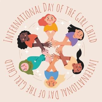 Ilustración plana del día internacional de la niña.