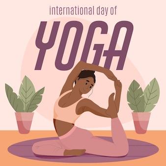 Ilustración plana del día internacional del yoga