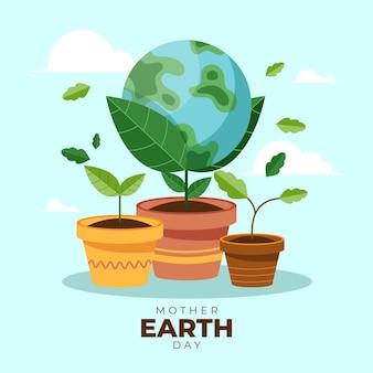 Ilustración plana del día de la madre tierra