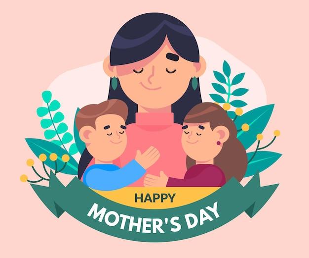 Ilustración plana del día de la madre
