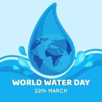 Ilustración plana del día mundial del agua