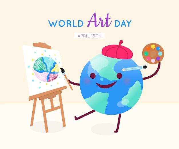 Ilustración plana del día mundial del arte