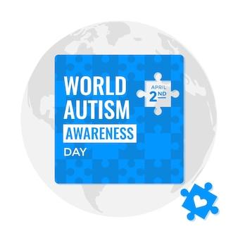 Ilustración plana del día mundial de la concienciación sobre el autismo con piezas de rompecabezas