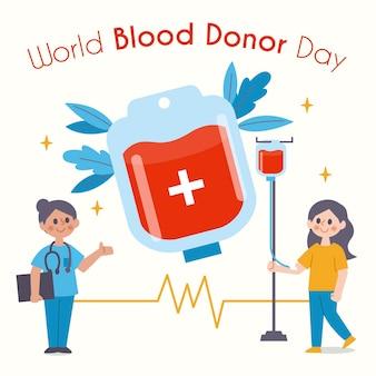 Ilustración plana del día mundial del donante de sangre