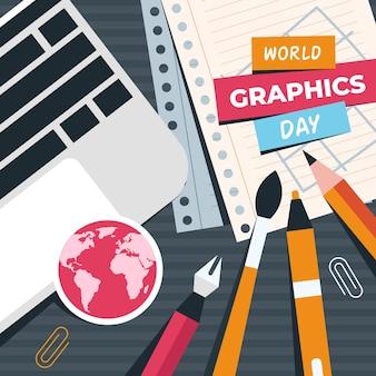 Ilustración plana del día mundial de los gráficos