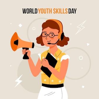 Ilustración plana del día mundial de las habilidades de la juventud