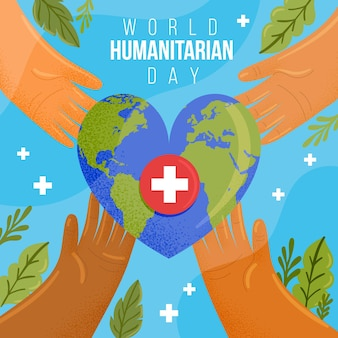 Ilustración plana del día mundial humanitario