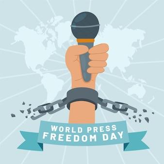 Ilustración plana del día mundial de la libertad de prensa