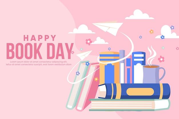 Ilustración plana del día mundial del libro