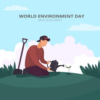 Ilustración plana del día mundial del medio ambiente vector gratuito