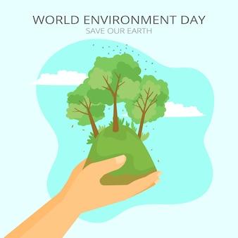 Ilustración plana del día mundial del medio ambiente