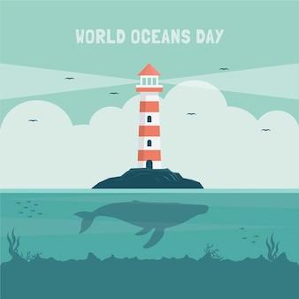 Ilustración plana del día mundial de los océanos