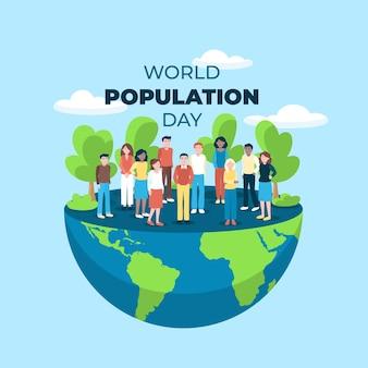 Ilustración plana del día mundial de la población