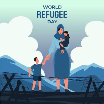 Ilustración plana del día mundial de los refugiados