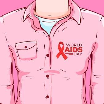 Ilustración plana del día mundial del sida