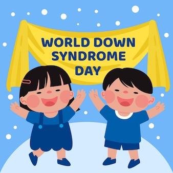 Ilustración plana del día mundial del síndrome de down