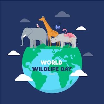 Ilustración plana del día mundial de la vida silvestre
