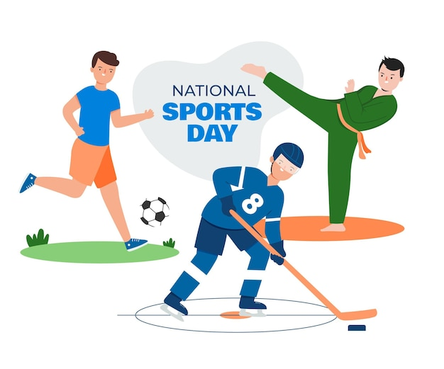 Ilustración plana del día nacional del deporte de indonesia