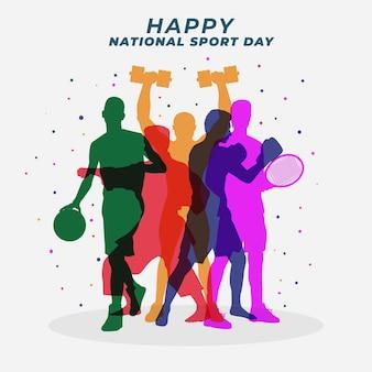 Ilustración plana del día nacional del deporte