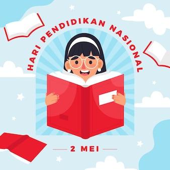Ilustración plana del día nacional de la educación de indonesia