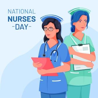 Ilustración plana del día nacional de las enfermeras