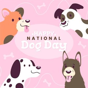 Ilustración plana del día nacional del perro