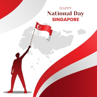 Ilustración plana del día nacional de singapur