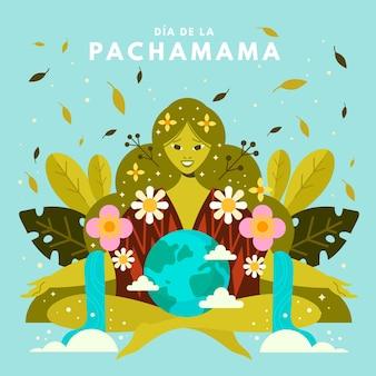 Ilustración plana dia de la pachamama