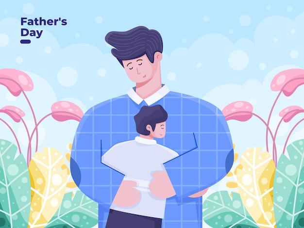 Ilustración plana del día del padre con padre abrazando a sus hijos