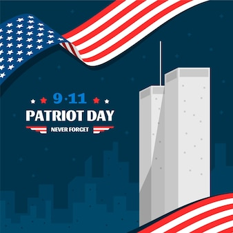 Ilustración plana del día del patriota 9.11