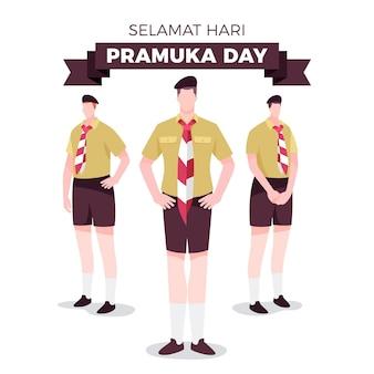 Ilustración plana del día de pramuka