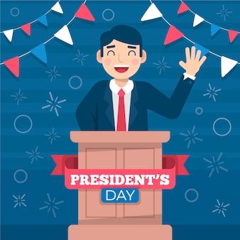 Ilustración plana del día del presidente