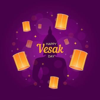 Ilustración plana del día de vesak